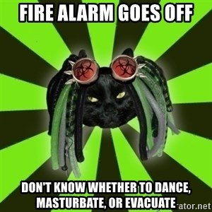 Pompous Cyber Cat - Fire alarm goes off Don't know whether to dance, masturbate, or evacuate