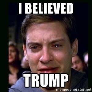 crying peter parker - I believed Trump