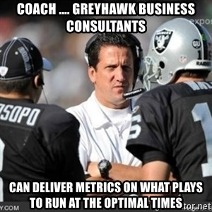 Knapped  - Coach .... GreyHawk Business Consultants Can deliver metrics on what plays to run at the optimal times