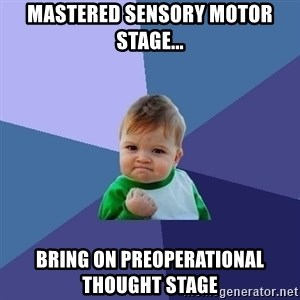 Success Kid - Mastered sensory motor stage... bring on preoperational thought stage