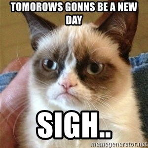 Grumpy Cat  - tomorows gonns be a new day sigh..