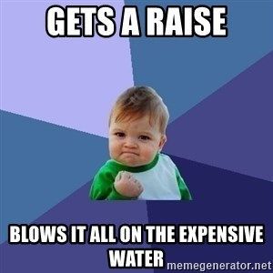 Success Kid - Gets a raise Blows it all on the expensive water