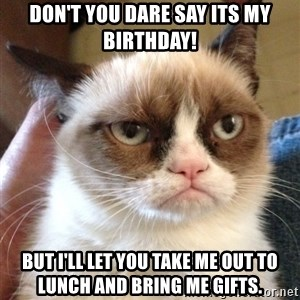 Grumpy Cat 2 - Don't you dare say its my birthday! But I'll let you take me out to lunch and bring me gifts.