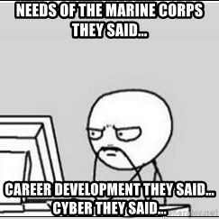 computer guy - Needs of the Marine Corps they said...  Career development they said... Cyber they said...