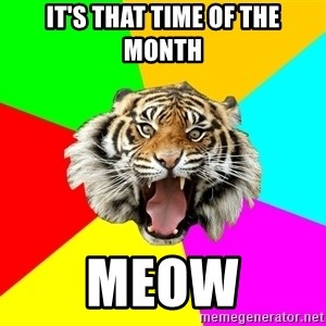 Time Of The Month Tiger - It's That Time of the Month Meow