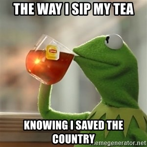 Kermit The Frog Drinking Tea - The way I sip my tea knowing I saved the country