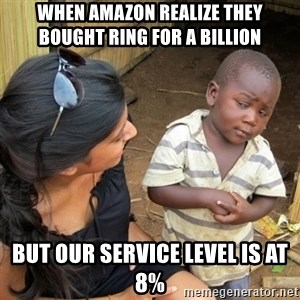 skeptical black kid - When Amazon realize they bought Ring for a BILLION But our Service Level is at 8%
