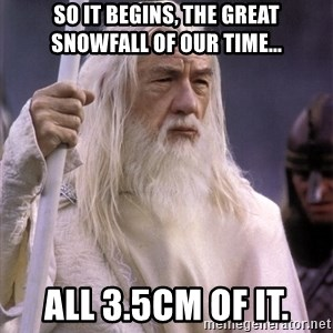 White Gandalf - so it begins, the great snowfall of our time... all 3.5cm of it.