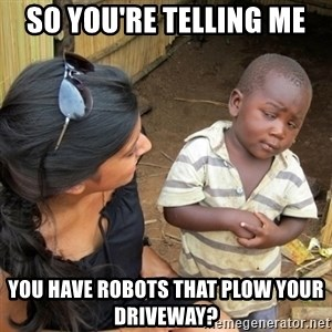 you mean to tell me black kid - So you're telling me you have robots that plow your driveway?