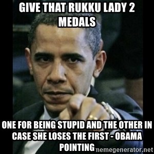 obama pointing - Give that Rukku lady 2 medals ONE FOR BEING STUPID AND THE OTHER IN CASE SHE LOSES THE FIRST - obama pointing
