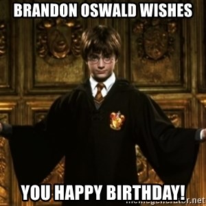 Harry Potter Come At Me Bro - Brandon Oswald wishes You Happy Birthday!