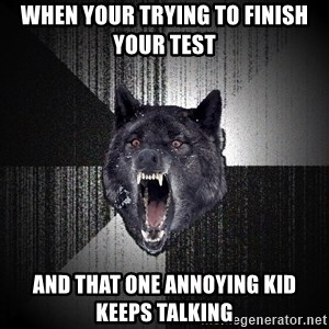 Insanity Wolf - when your trying to finish your test and that one annoying kid keeps talking