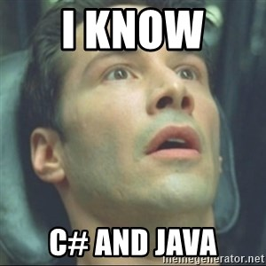 i know kung fu - I know  C# and JAVA