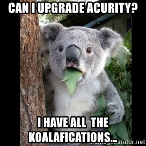 Koala can't believe it - Can I upgrade Acurity? I have all  the koalafications...