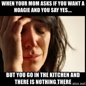 First World Problems - When your mom asks if you want a Hoagie and you say yes.... But you go in the kitchen and there is nothing there
