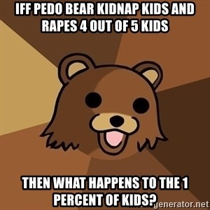 Pedobear - iff pedo bear kidnap kids and rapes 4 out of 5 kids then WHAT HAPPENS TO THE 1 PERCENT OF KIDS?