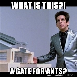 Zoolander for Ants - what is this?! a gate for ants?