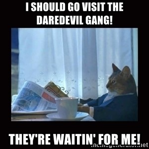 i should buy a boat cat - i should go visit the daredevil gang! they're waitin' for me!
