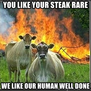 Evil Cows - you like your steak rare we like our human well done