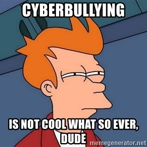 Futurama Fry - Cyberbullying  is NOT cool what so ever, dude