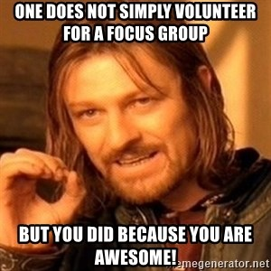 One Does Not Simply - one does not simply volunteer for a focus group but you did because you are awesome!