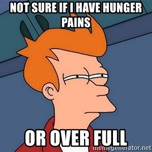 Futurama Fry - not sure if i have hunger pains or over full