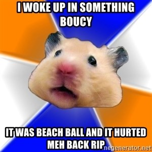Hamster - I woke up in something boucy it was beach ball and it hurted meh back rip