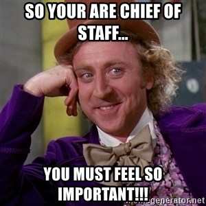 Willy Wonka - So your are Chief of Staff... You must feel so important!!!