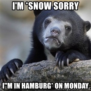 "Confession Bear - I'M *SNOW SORRY I""M IN HAMBURG* ON MONDAY"