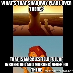 Lion King Shadowy Place - What's that shadowy place over there? That is Macclesfield full of inbreeding and morons, never go there