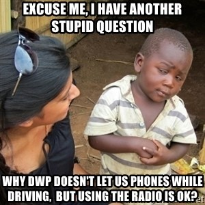 Skeptical 3rd World Kid - Excuse me, I have another stupid question  Why DWP doesn't let us phones while driving,  but using the radio is ok?
