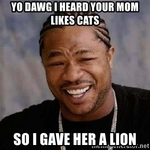 Yo Dawg - yo dawg i heard your mom likes cats  so i gave her a lion