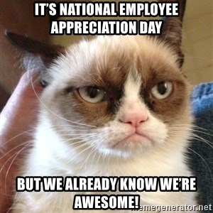 Grumpy Cat 2 - It's National Employee Appreciation Day But we already know we're awesome!