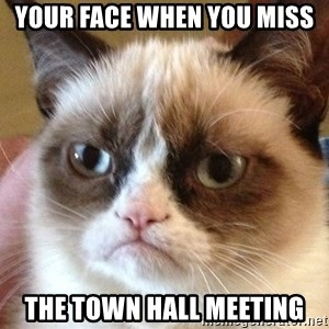 Angry Cat Meme - your face when you miss  the town hall meeting