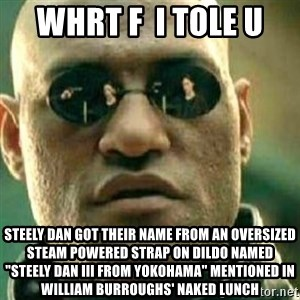 "What If I Told You - whrt f  i tole u steely dan got their name from an oversized steam powered strap on dildo named ""Steely Dan III from Yokohama"" mentioned in William Burroughs' Naked Lunch"