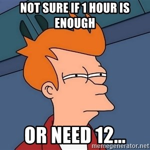 Futurama Fry - Not sure if 1 hour is enough  Or need 12...