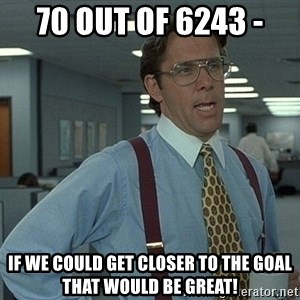 That'd be great guy - 70 out of 6243 -  If we could get closer to the goal that would be great!