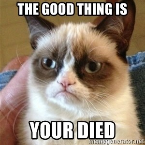 Grumpy Cat  - the good thing is your died