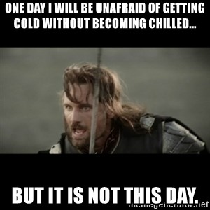 But it is not this Day ARAGORN - One day I will be unafraid of getting cold without becoming chilled... but it is not this day.