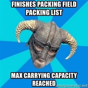 skyrim stan - Finishes packing field packing list Max carrying capacity reached