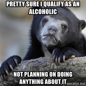 Confession Bear - Pretty sure I qualify as an alcoholic Not planning on doing anything about it