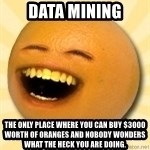 Annoying Orange - Data Mining The only place where you can buy $3000 worth of oranges and nobody wonders what the heck you are doing.