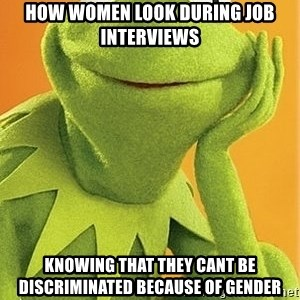 Kermit the frog - how women look during job interviews knowing that they cant be discriminated because of gender