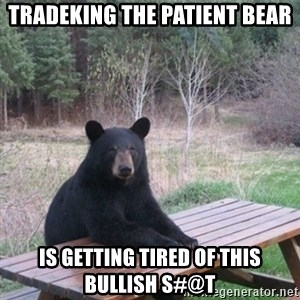 Patient Bear - TRADEKING THE PATIENT BEAR IS GETTING TIRED OF THIS BULLISH S#@T
