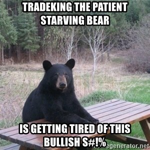 Patient Bear - TRADEKING THE PATIENT STARVING BEAR IS GETTING TIRED OF THIS BULLISH S#!%