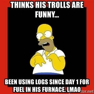Homer retard - Thinks his trolls are funny... Been using logs since day 1 for fuel in his furnace. lmao