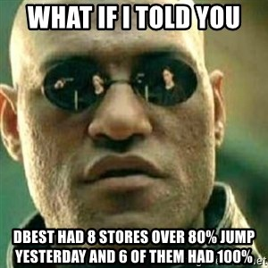 What If I Told You - What if i told you Dbest had 8 stores over 80% jump yesterday and 6 of them had 100%