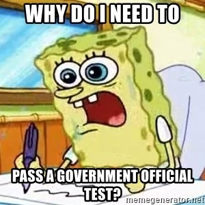 Spongebob What I Learned In Boating School Is - Why do I need to pass a government official test?