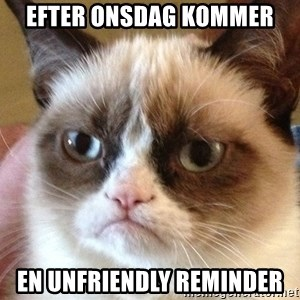 Angry Cat Meme - Efter onsdag kommer en unfriendly reminder