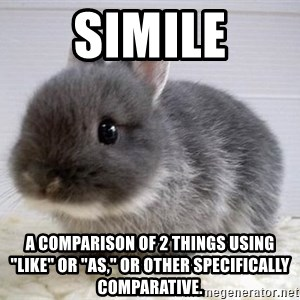 """ADHD Bunny - Simile A comparison of 2 things using """"like"""" or """"as,"""" or other specifically comparative."""